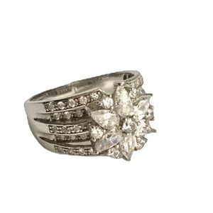 QVC Cluster Faux Diamond Ring Sterling Silver 8